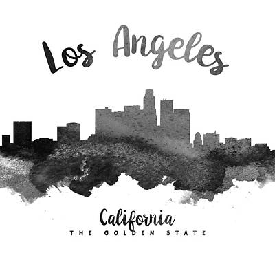 Skylines Paintings - Los Angeles California Skyline 18 by Aged Pixel