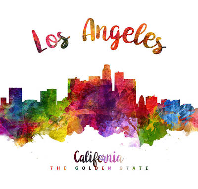 Skylines Paintings - Los Angeles California Skyline 23 by Aged Pixel