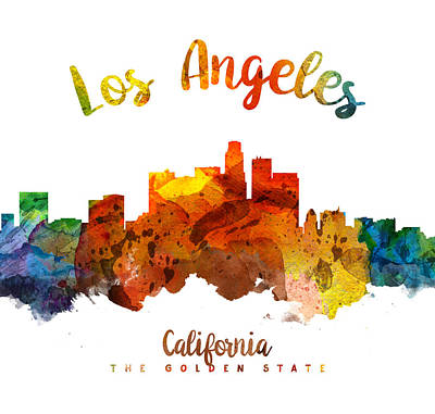 Skylines Paintings - Los Angeles California Skyline 26 by Aged Pixel