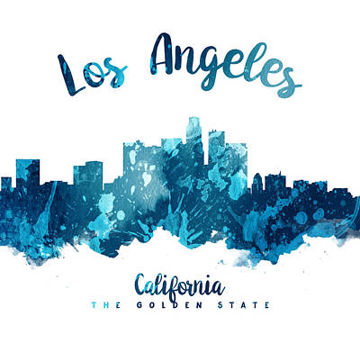 Skylines Paintings - Los Angeles California Skyline 27 by Aged Pixel