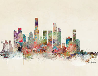 Painting - Los Angeles California Skyline by Bleu Bri