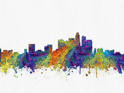 Skylines Royalty-Free and Rights-Managed Images - Los Angeles California skyline color03 by Aged Pixel