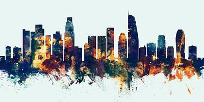 Los Angeles Skyline Wall Art - Digital Art - Los Angeles California Skyline Panoramic by Michael Tompsett