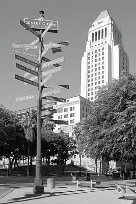 Photograph - Los Angeles City Hall And Sister Cities Of La - Black And White Rendition by Ram Vasudev