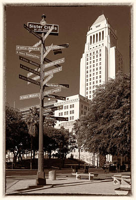 Photograph - Los Angeles City Hall And Sister Cities Of La - Sepia Rendition by Ram Vasudev