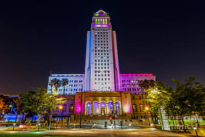 Los Angeles Skyline Photograph - Los Angeles City Hall by Art K