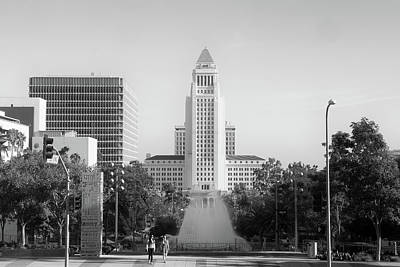 Photograph - Los Angeles City Hall - Black And White Monochrome by Ram Vasudev