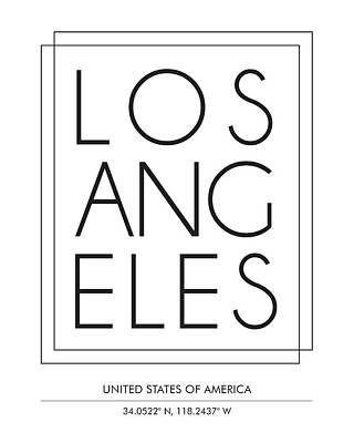 Print Mixed Media - Los Angeles City Print With Coordinates by Studio Grafiikka