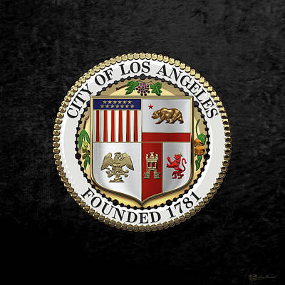 Digital Art - Los Angeles City Seal Over Black Velvet by Serge Averbukh