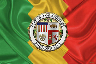 Digital Art - Los Angeles City Seal Over Flag Of L.a. by Serge Averbukh