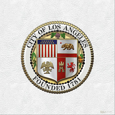 Digital Art - Los Angeles City Seal Over White Leather by Serge Averbukh