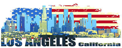 Los Angeles City Skyline Original by Don Kuing