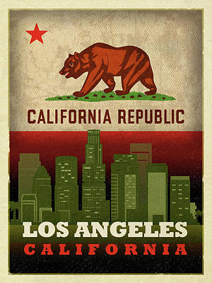 Skyline Mixed Media - Los Angeles City Skyline State Flag Of California Art Poster Series 011 by Design Turnpike