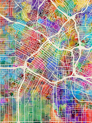 Los Angeles City Street Map Art Print by Michael Tompsett