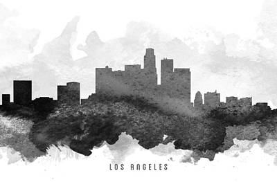 Skylines Paintings - Los Angeles Cityscape 11 by Aged Pixel