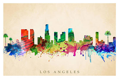 Digital Art - Los Angeles Cityscape by Steve Will