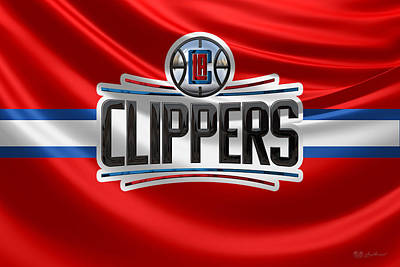 Los Angeles Clippers - 3 D Badge Over Flag Art Print by Serge Averbukh