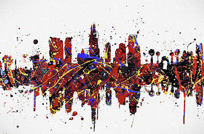 Skylines Paintings - Los Angeles Colorful Skyline by Dan Sproul