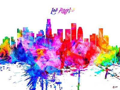 Los Angeles Skyline Mixed Media - Los Angeles Colorful Skyline by Daniel Janda