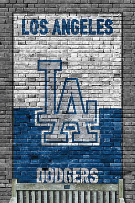 Baseball Painting - Los Angeles Dodgers Brick Wall by Joe Hamilton