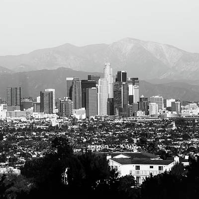 Photograph - Los Angeles Downtown Skyline And Mountain Landscape - Square 1x1 Monochrome by Gregory Ballos