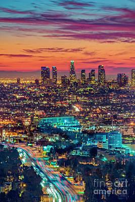 Photograph - Los Angeles Firey City Sky  by David Zanzinger