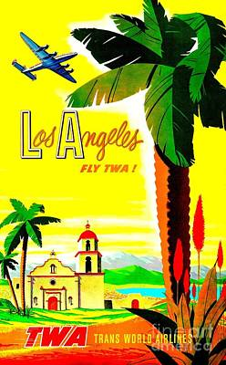 Painting - Los Angeles Fly T W A Poster Circa 1955 by Peter Gumaer Ogden Collection