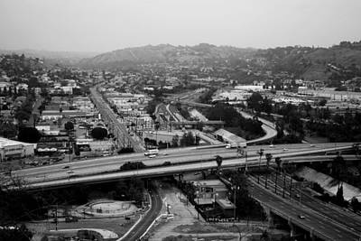 Photograph - Los Angeles Freeway View Black And White by Matt Harang