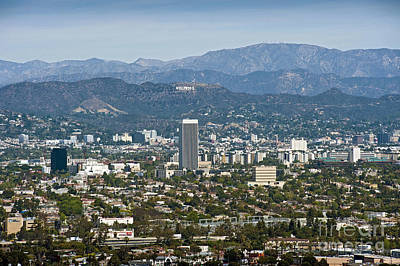 California Department Of Parks And Recreation Photograph - Hollywood Sign Aerial View by David Zanzinger