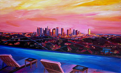 Infinity Pool Painting - Los Angeles Infinity Skyline With Infinite View Pool  by M Bleichner