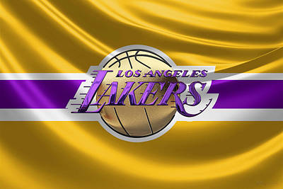 Los Angeles Lakers - 3 D Badge Over Flag Art Print by Serge Averbukh