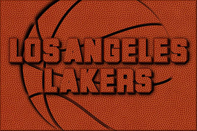 Los Angeles Lakers Leather Art Art Print by Joe Hamilton