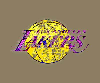 Magic Johnson Painting - Los Angeles Lakers Paint Splatter by Brian Reaves