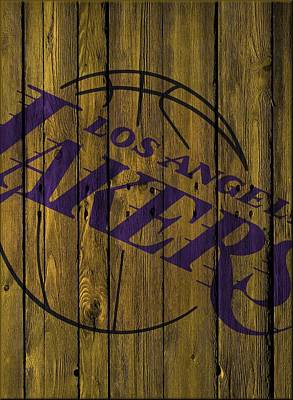 Los Angeles Lakers Wood Fence Art Print by Joe Hamilton