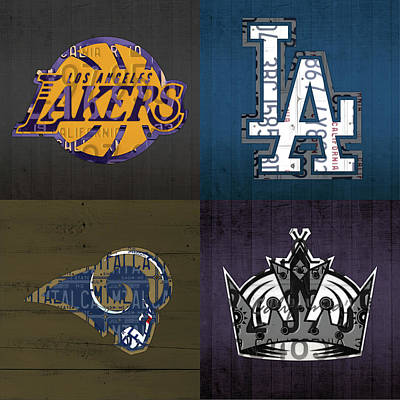 Los Angeles License Plate Art Sports Design Lakers Dodgers Rams Kings Art Print by Design Turnpike