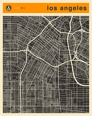 Los Angeles Map Art Print by Jazzberry Blue