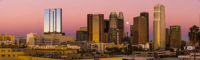 Photograph - Los Angeles Moonrise 2014 by Joe Doherty