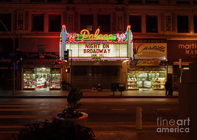 Photograph - Los Angeles Night On Broadway by Gregory Dyer