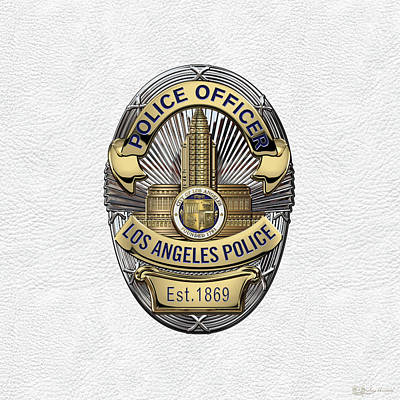 Los Angeles Police Department  -  L A P D  Police Officer Badge Over White Leather Art Print