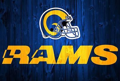 Athletes Digital Art - Los Angeles Rams Barn Door by Dan Sproul