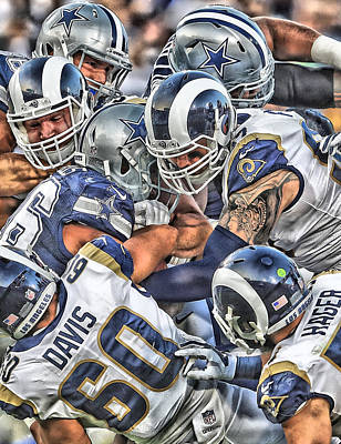 Mixed Media - Los Angeles Rams Team Art by Joe Hamilton