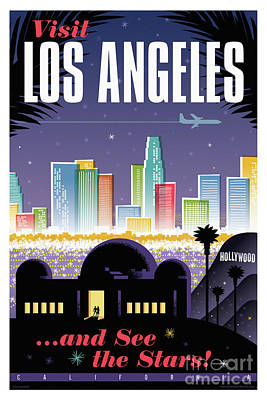 Retro Digital Art - Los Angeles Retro Travel Poster by Jim Zahniser