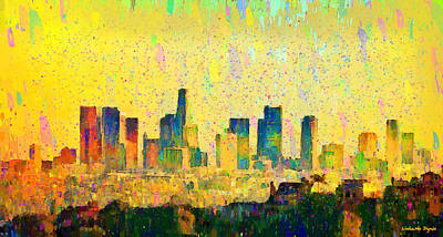 Los Angeles Skyline 1 - Da Art Print by Leonardo Digenio
