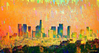 York Digital Art - Los Angeles Skyline 10 - Da by Leonardo Digenio
