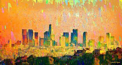 Los Painting - Los Angeles Skyline 10 - Pa by Leonardo Digenio