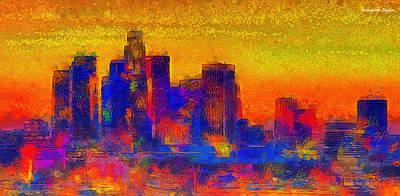 U.s Digital Art - Los Angeles Skyline 100 - Da by Leonardo Digenio