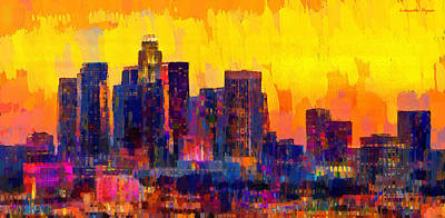 Los Angeles Skyline 101 - Pa Art Print