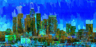 Detail Digital Art - Los Angeles Skyline 102 - Da by Leonardo Digenio