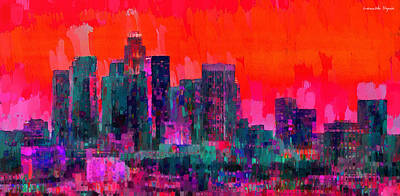 Historic Painting - Los Angeles Skyline 103 - Pa by Leonardo Digenio