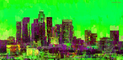 Harbor Digital Art - Los Angeles Skyline 105 - Da by Leonardo Digenio
